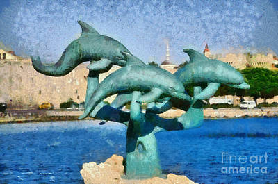 Dolphin Painting - In Front Of The Old City Of Rhodes by George Atsametakis