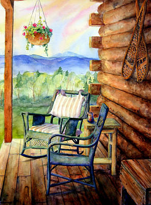 Log Cabin Painting - In Good Company by Mary Giacomini