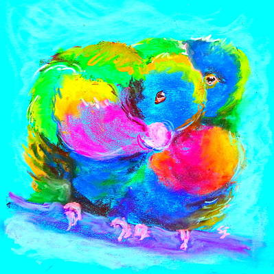 Multi Colored Painting - In Love Birds - Lorikeets by Sue Jacobi