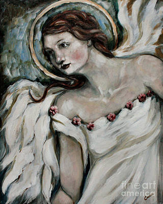 Angels Painting - In Love by Carrie Joy Byrnes