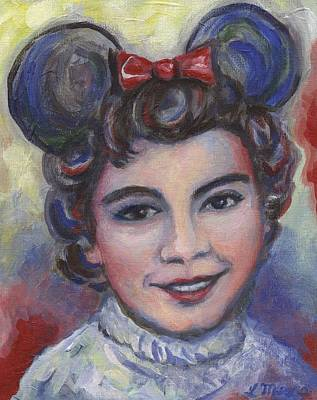 Little Girls Painting - In Memory Of Annette Funicello by Linda Mears