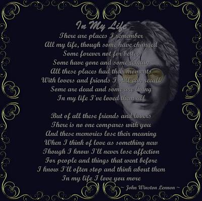 John Lennon Mixed Media - In My Life Golden Scroll by Movie Poster Prints