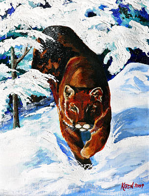 Puma Painting - In Pursuit by Karon Melillo DeVega