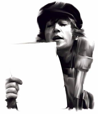 John Lennon David Pucciarelli Drawing - In Studio John Lennon by Iconic Images Art Gallery David Pucciarelli