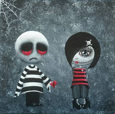 Voodoo Doll Painting - In The Beginning by Oddball Art Co by Lizzy Love