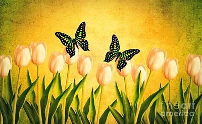 In The Butterfly Garden Print by Edward Fielding