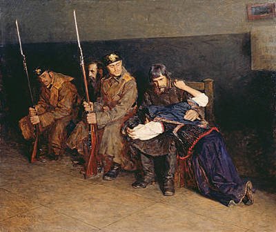 Distraught Painting - In The Corridor Of The District Court by Nikolaj Alekseevich Kasatkin