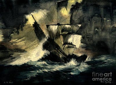 Of Pirate Ships Painting - In The Dark by Melly Terpening