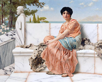 John William Godward Painting - In The Days Of Sappho by John William Godward
