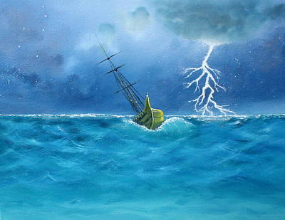 Adrift Painting - Ship In Stormy Seas by Toni Yasger