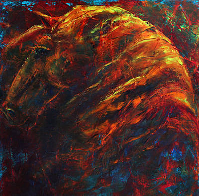 Contemporary Horse Painting - In The Fire by Jennifer Godshalk