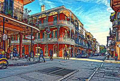 Daily Life Digital Art - In The French Quarter Painted by Steve Harrington