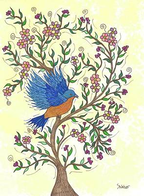 Painting - In The Garden - Bluebird by Susie WEBER