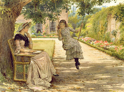 Wicker Chair Painting - In The Garden by George Goodwin Kilburne