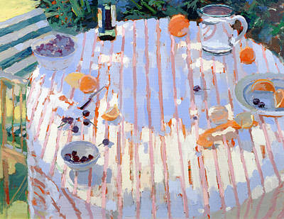 Water Jug Painting - In The Garden Table With Oranges  by Sarah Butterfield