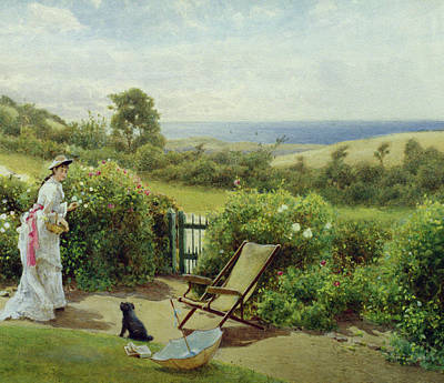 Dog In Landscape Painting - In The Garden by Thomas James Lloyd