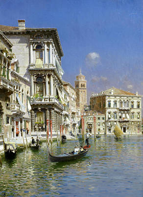 Art-santoro Painting - In The Gondola. Venice by Rubens Santoro