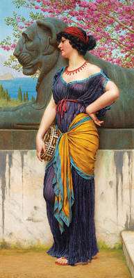 John William Godward Painting - In The Grove Of The Temple Of Isis by John William Godward