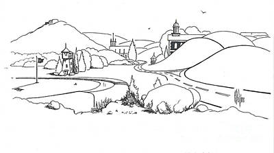 Village Scene Drawing - In The Land Of Brigadoon  by Kip DeVore