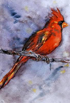 Cardinals In Watercolor Painting - In The Moment by Beverley Harper Tinsley