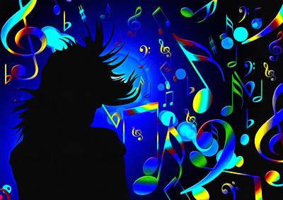 Trombone Mixed Media - In The Mood Blue by Georgiana Romanovna