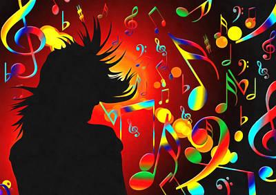 Trombone Mixed Media - In The Mood Red by Georgiana Romanovna