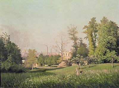 In The Park At Issy-les-moulineaux, 1876 Oil On Canvas Print by Prosper Galerne