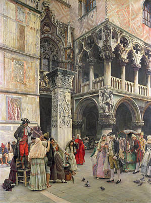 Venetian Balcony Painting - In The Piazzetta by William Logsdail