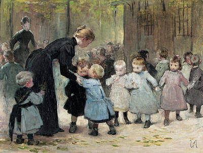 Children Playing Photograph - In The Playground Oil On Canvas by Henri Jules Jean Geoffroy