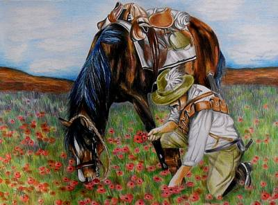 Solider Drawing - In The Poppy Fields by Michelle Pope