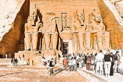 In The Presence Of Ramses II At Abu Simbel Print by Mark E Tisdale