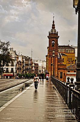 Rain Digital Art - In The Rain - Puente De Triana by Mary Machare