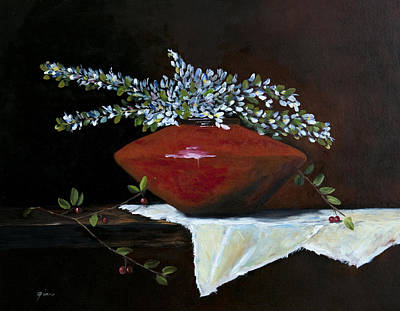 Table Cloth Painting - In The Red Mood by Gina Cordova