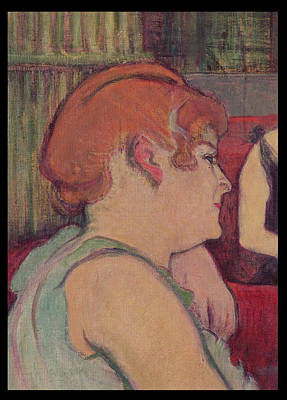 In The Salon At The Rue Des Moulins, Detail Of One Of The Women, 1894 Charcoal And Oil Print by Henri de Toulouse-Lautrec