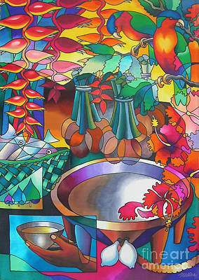 Heliconia Painting - In The Shadows Of Sleeping Giant Mountain IIi by Maria Rova