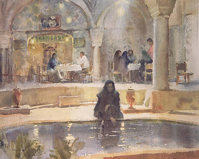 Islamic Photograph - In The Teahouse, Kerman Wc On Paper by Trevor Chamberlain