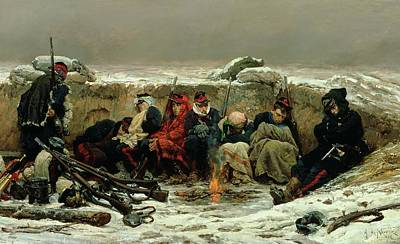 In The Trenches Print by Alphonse Marie de Neuville