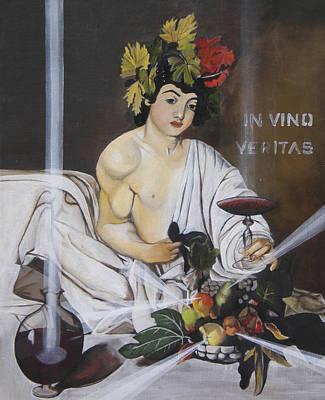 Italian Wine Painting - In Vino Veritas After Caravaggio's Baccus by Erin Brinkman