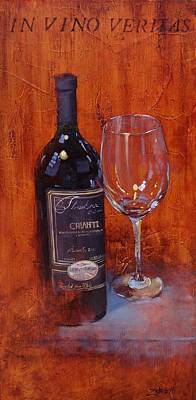 Wine Glasses Painting - In Vino Veritas by Laura Lee Zanghetti