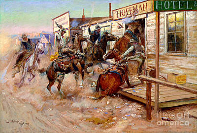 U.s.pd Painting - In Without Knocking By Charles M. Russell by Pg Reproductions