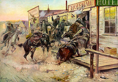 Cowboy Art Digital Art - In Without Knocking by Charles Russell