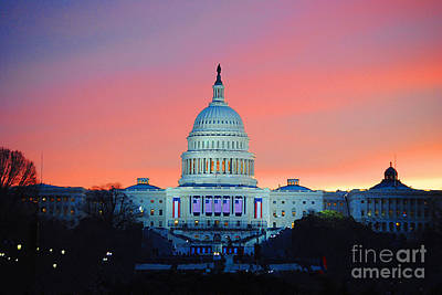 Vice President Biden Photograph - Inauguration Sunrise As Painting by Jost Houk