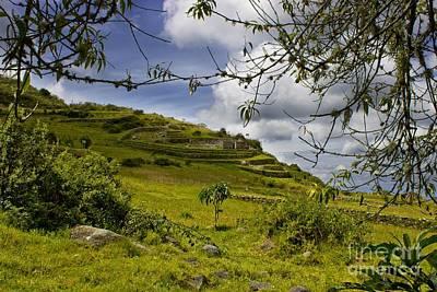 Inca Ruins On Mount Cojitambo In Ecuador Print by Al Bourassa