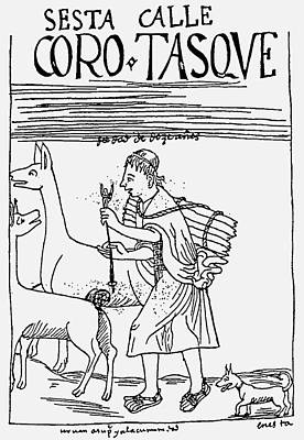 Llama Drawing - Inca Shepherd by Granger