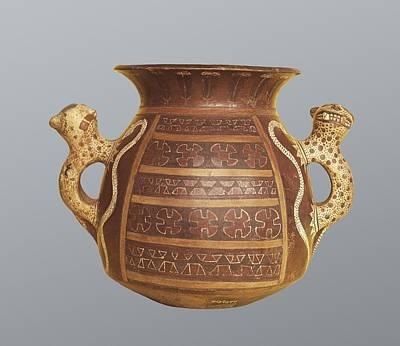 Ceramics Photograph - Inca Vase With Geometric Decoration by Everett