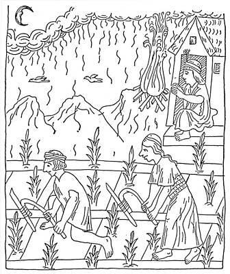 New Moon Drawing - Incan Cultivation by Granger
