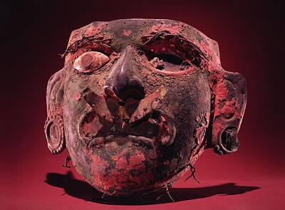 Artefact Photograph - Incan Mask Copper Alloy & Shell by Peruvian School