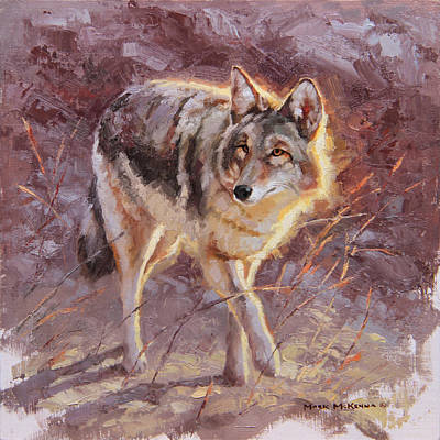 Abstract Coyote Painting - Independent Pursuit by Mark McKenna