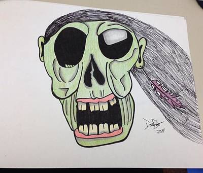 Holloween Drawing - Indi Zombie  by Destiny  Baxter