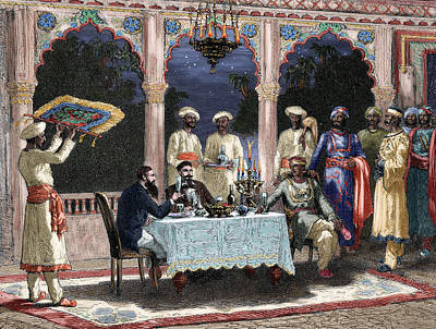 India  British Colonial Era  Banquet At The Palace Of Rais In Mynere Print by Hildibrand